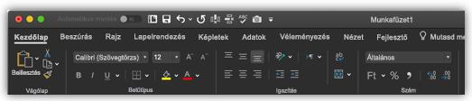 Az Excel menüszalagjának képe Sötét módban