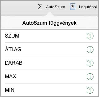 Az AutoSzum függvények menü