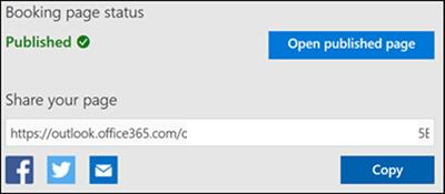 Képernyőkép: az URL-cím másolása a foglalási lapról