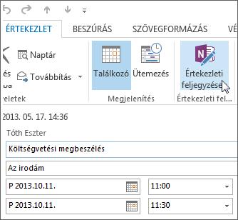 Jegyzetek készítése Outlook-értekezlet közben