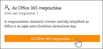 """Képernyőkép """"Az Office 365 megosztása"""" szakaszról a Saját fiók lapon, mielőtt az előfizetést bárki mással megosztaná."""