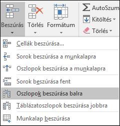 Táblázatoszlop felvétele a kezdőlapról, kattintson a nyílra a Beszúrás > oszlopok beszúrása a munkalapra.