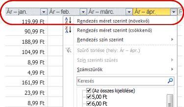 Automatikus szűrők az Excel-táblázat oszlopfejléceiben