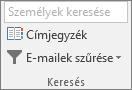 Az Outlook Kezdőlap lap Keresés csoportjában válassza a Címjegyzék gombot.