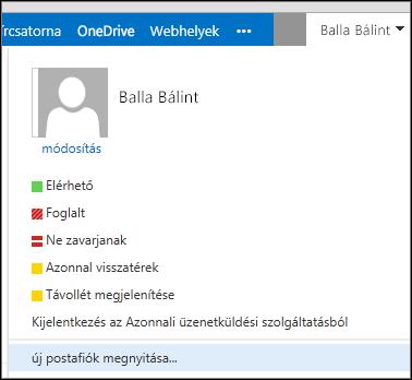 Az Outlook Web App Másik postaláda megnyitása menüje