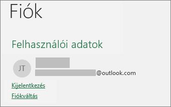 A Kijelentkezés elem a Windows Office Backstage nézetében