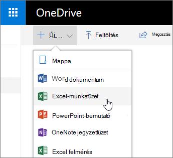A OneDrive új menüje, az Excel-munkafüzet parancs