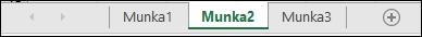 Munkalapfülek az Excel ablakának alján