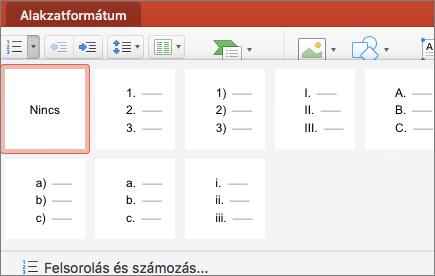 Képernyőkép a Számozás gombon lévő nyilat választva elérhetővé váló számozási stílusokról