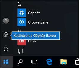 Kattintás a Start menüben a Windows-beállítások ikonjára