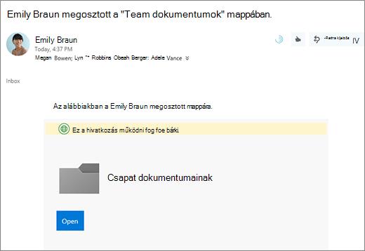 E-mailben a OneDrive mappa megosztása hivatkozással