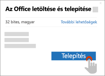 A Telepítés gombot mutatja az Office letöltése mezőben