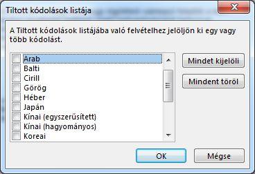Tiltott kódolások listája párbeszédpanel