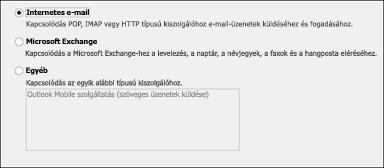 Az Internetes e-mail lehetőség választása