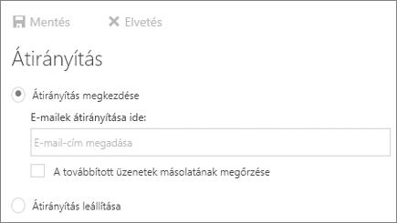 Képernyőkép a továbbítás párbeszédpaneljét mutatja az Indítás hívásátirányítási beállítást.