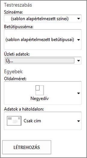 A Publisher beépített képeslapsablonjainak beállítási lehetőségei