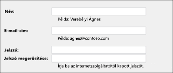 Az e-mail-cím és a jelszó megadása