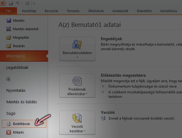 A PowerPoint 2010 menüszalagjának Fájl lapján kattintson a Beállítások lehetőségre.