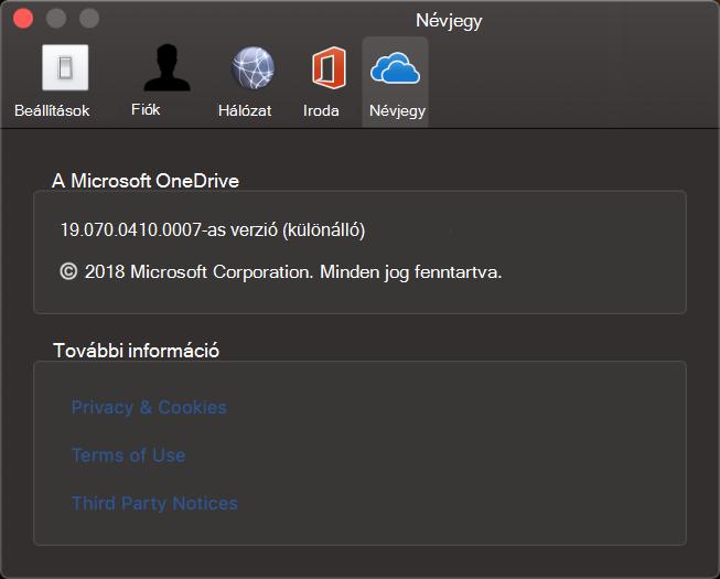 OneDrive Mac-hez alkalmazás felhasználói kezelőfelület