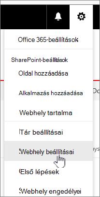 Webhely beállításai hivatkozás egy dokumentumtárban