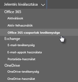 Jelentés kiválasztása – Office 365-csoportok
