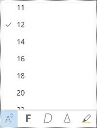 A betűméret menü megnyílik a webes Outlookban.