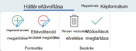 Az Office 2016 menüszalagjának Képeszközök eszközcsoportjában, a Formátum lapon található háttér-eltávolítási gombok