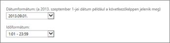 Az Outlook Web App dátum- és időformátumának beállításai