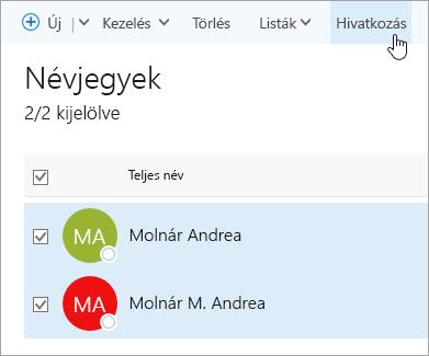Képernyőkép a Kapcsolatok lapon található Összekapcsolás gombról.