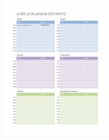 Ingyenes heti naptársablonok az Office.com-on - Excel