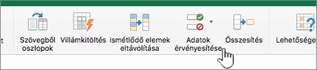 Az Excel-eszköztár Adatok menüje, amelyben az Érvényesítés elem van kijelölve