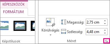 Párbeszédpanel-megnyitó ikon a Képeszközök Formátum lapjának Méret csoportjában