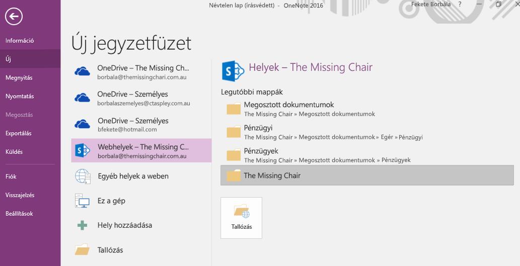 A Windows 2016 OneNote Új jegyzetfüzet párbeszédpaneljének mappaválasztó felülete