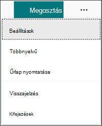 Nyelvek hozzáadására vonatkozó Beállítások menü