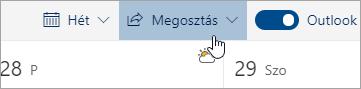 A Megosztás gomb képernyőképe.