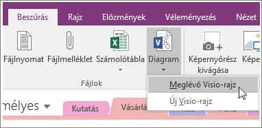 Képernyőkép a OneNote 2016 Diagram beszúrása gombjáról