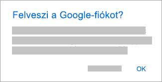 Az OK gombra koppintva adjon hozzáférést az Outlooknak a fiókjaihoz.