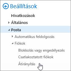 A képernyőképen a levelezési beállítások Hívásátirányítási beállítást.