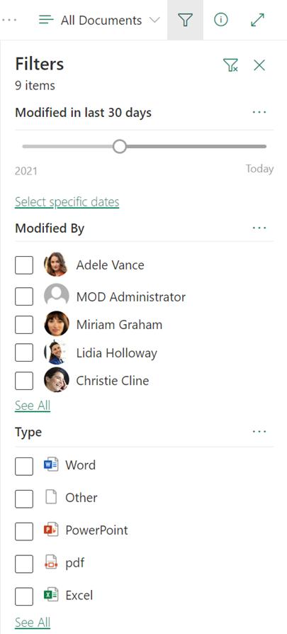 A szűrőpanel egy SharePoint-dokumentumtárban