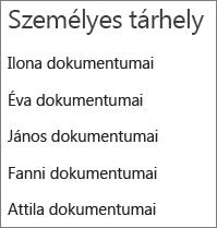 A felhasználói OneDrive-tárakra mutató hivatkozások felsorolása
