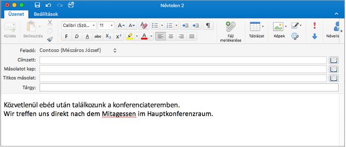 Angol és német mondat helytelenül írt szóval a németben. A helytelenül írt szó alatt vörös vonal látható.