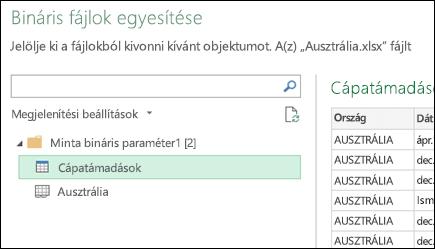 A Bináris fájlok egyesítése párbeszédpanel, amely megjeleníti az elsődleges összesítési célként választható, elérhető Excel-munkalapokat