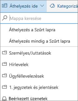 Szűrt levelek a Webes Outlookban