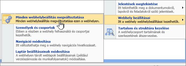 A Minden webhelybeállítás megváltoztatása opció a Webhely beállításai területen