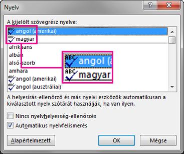 A Nyelvi ellenőrzés ikon