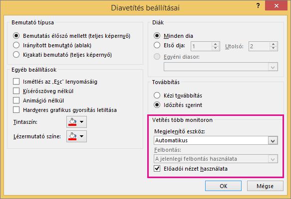 Monitorbeállítások a Vetítési beállítások párbeszédpanelen