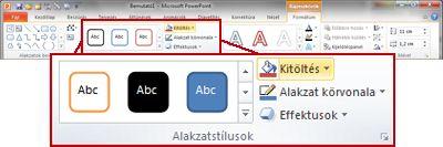 A Formátum lap a PowerPoint 2010 menüszalagján