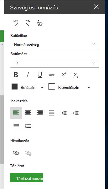 A szöveg és a táblázat formázása lap megnyitása