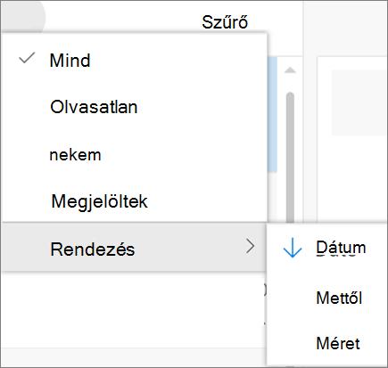 Képernyőkép a rendezési beállítást az e-mailek szűrése vezérlőből szerint jeleníti meg.