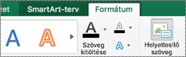 SmartArt-ábrák helyettesítő szöveg gombja a Mac Excelben